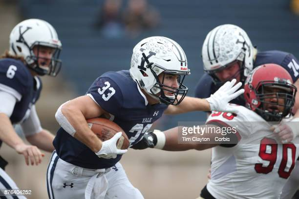 Zane Dudek of Yale in action during the Yale V Harvard Ivy League Football match at the Yale Bowl Yale won the game 243 to win their first outright...