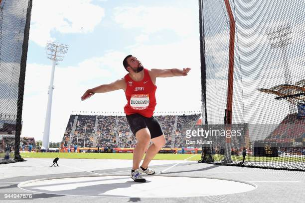 Zane Duquemin of Jersey competes in the Men's Discus qualification during athletics on day eight of the Gold Coast 2018 Commonwealth Games at Carrara...