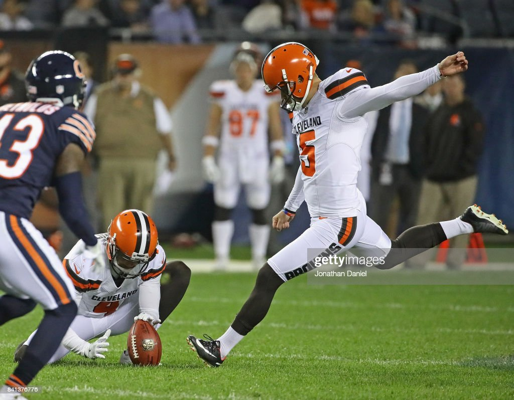 Zane Gonzalez #5 of the Cleveland Browns kicks a 53 yard field goal out of the hold of Britton Colquitt #4 against the Chicago Bears during a preseason game at Soldier Field on August 31, 2017 in Chicago, Illinois.