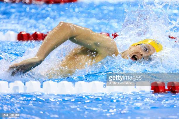 Zane Grothe competes in the men's 800m freestyle final at the 2018 TYR Pro Series on July 8 2018 in Columbus Ohio