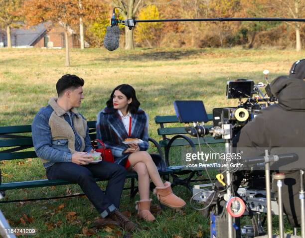 Zane Holtz and Lucy Hale are seen on the set of Katy Keene on November 25 2019 in New York City