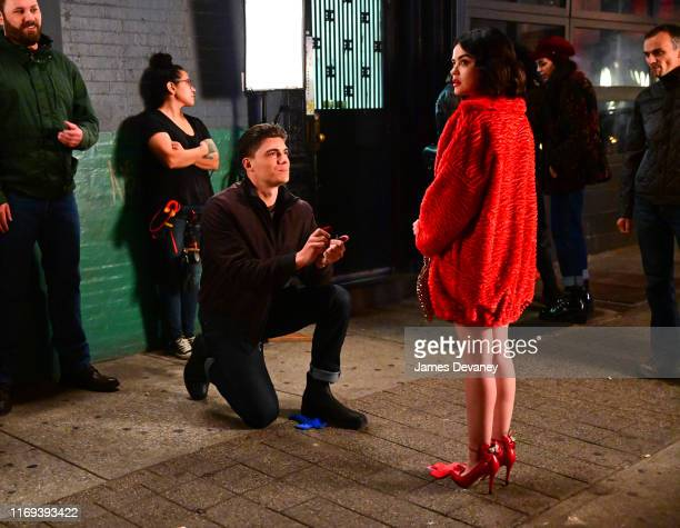 Zane Holtz and Lucy Hale seen filming on location for 'Katy Keene' in the Lower East Side on September 18 2019 in New York City