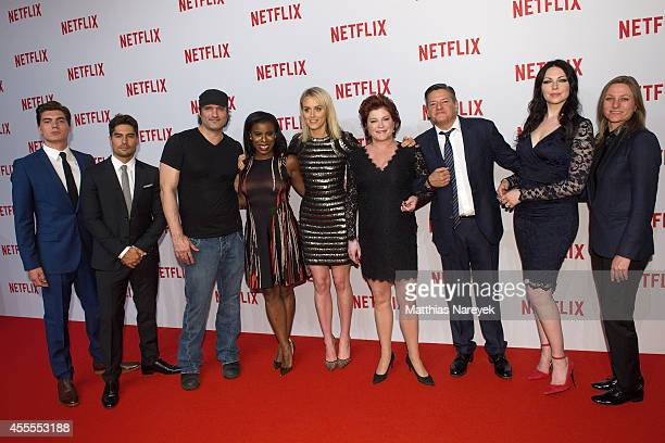 Zane Holtz D J Cotrona Roberto Rodriguez Uzo Aduba Taylor Schilling Kate Mulgrew Ted Sarandos Laura Prepon and guest attend the Netflix pre launch...