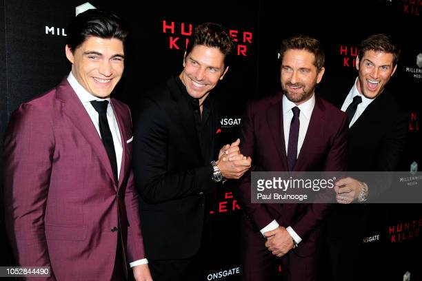 Zane Holtz Michael Trucco Gerard Butler and Ryan McPartlin attend Lionsgate With The Cinema Society Host The World Premiere Of Hunter Killer at...