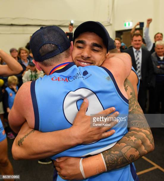 Zane Kirkwood and Byron Sumner of Sturt embrace after defeating the Magpies during the SANFL Grand Final match between Port Adelaide and Sturt at...