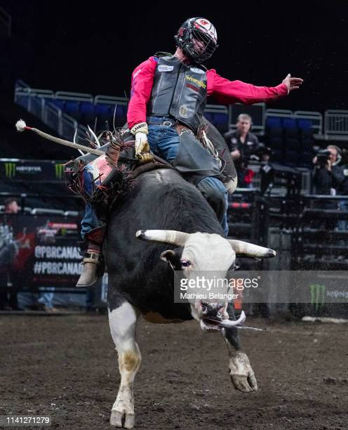 Zane Lambert of Canada rides Kool Aid during the PBR Monster Energy Tour Professional Bull Riders event at Videotron Centre on May 4, 2019 in Quebec...