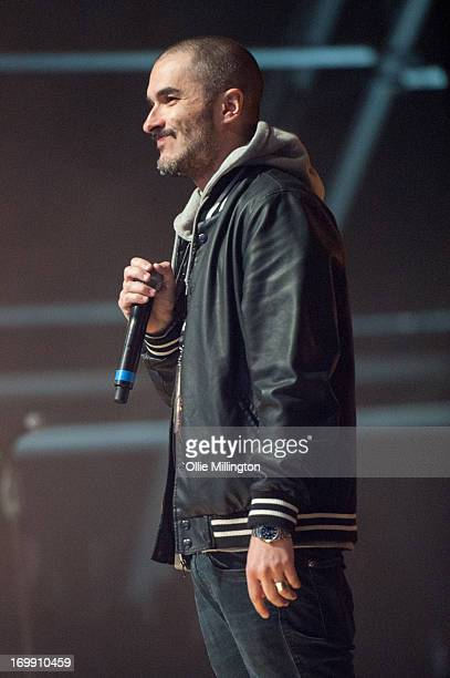 Zane Lowe on stage before Macklemore on Day 3 of The BBC Radio 1 Big Weekend Festival on May 26 2013 in Londonderry Northern Ireland