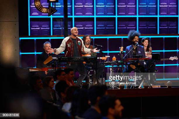 Zane Lowe sits in with Karen the Late Late Show band during The Late Late Show with James Corden Wednesday January 17 2018 On The CBS Television...