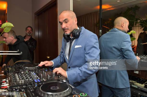 Zane Lowe wearing Hugo Boss spins at Esquire's 'Mavericks of Hollywood' Celebration presented by Hugo Boss on February 20 2018 in Los Angeles...