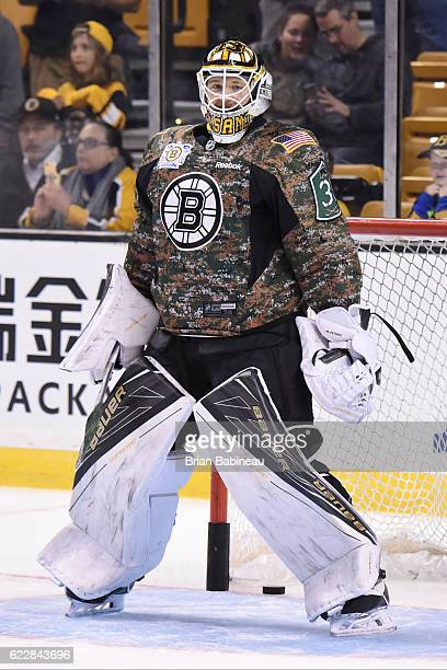 Zane McIntyre of the Boston Bruins in his camo warm up jersey before the game against the Columbus Blue Jackets at the TD Garden on November 10 2016...
