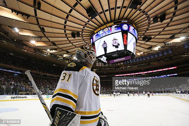 Zane McIntyre of the Boston Bruins looks on against the New York Rangers during the third period at Madison Square Garden on October 26 2016 in New...