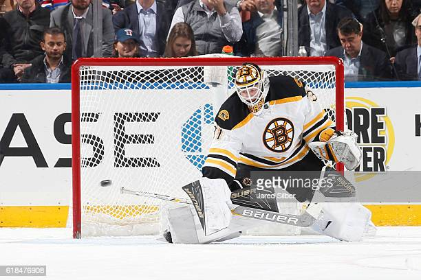 Zane McIntyre of the Boston Bruins makes a save against the New York Rangers at Madison Square Garden on October 26 2016 in New York City