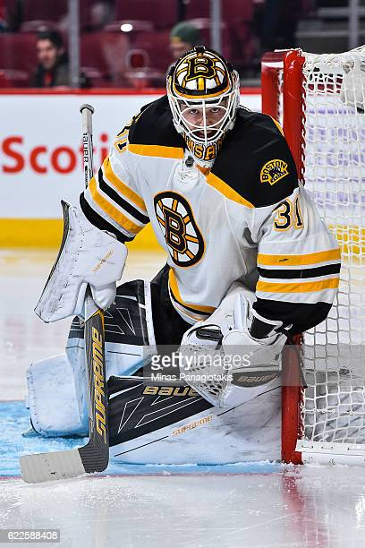 Zane McIntyre of the Boston Bruins remains focused as he protects his net during the NHL game against the Montreal Canadiens at the Bell Centre on...