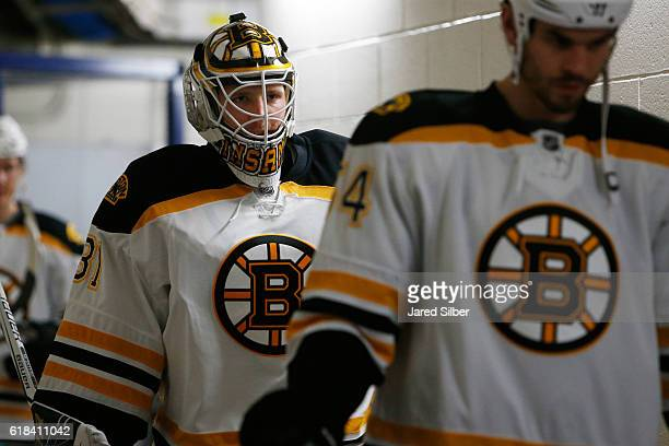 Zane McIntyre of the Boston Bruins walks down the tunnel for pregame warmups before the game against the New York Rangers at Madison Square Garden on...