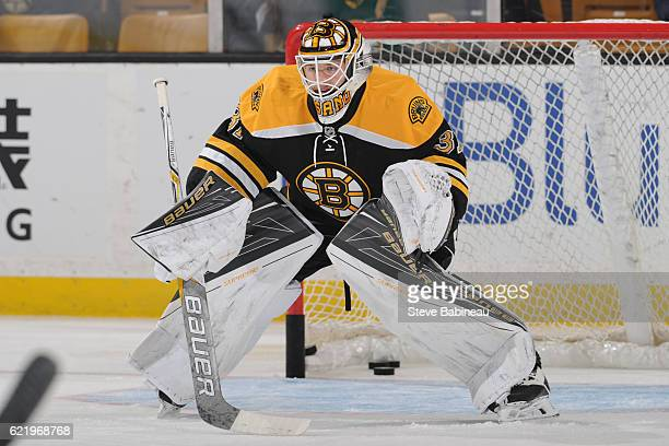 Zane McIntyre of the Boston Bruins warms up before the game against the Buffalo Sabres at the TD Garden on November 7 2016 in Boston Massachusetts