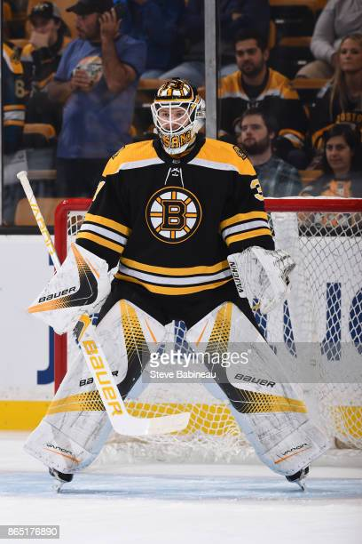 Zane McIntyre of the Boston Bruins warms up before the game against the Buffalo Sabres at the TD Garden on October 21 2017 in Boston Massachusetts