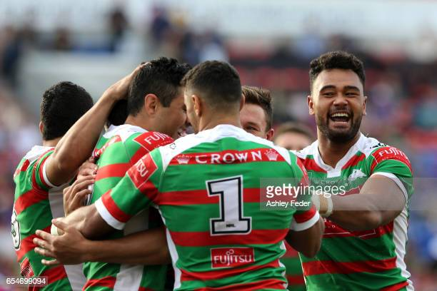 Zane Musgrove of the Rabbitohs celebrates with his team during the round three NRL match between the Newcastle Knights and the South Sydney Rabbitohs...