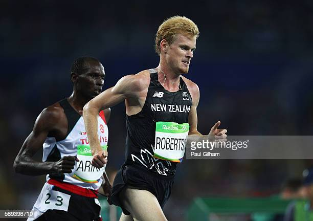 Zane Robertson of New Zealand competes during the Men's 10000m on Day 8 of the Rio 2016 Olympic Games at the Olympic Stadium on August 13 2016 in Rio...