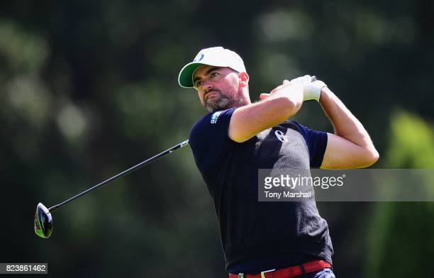 Zane Scotland of England plays his first shot on the 15th tee during the Porsche European Open - Day Two at Green Eagle Golf Course on July 28, 2017...