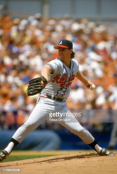 Zane Smith of the Atlanta Braves pitches against the New York Mets during an Major League baseball game circa 1987 at Shea Stadium in the Queens...