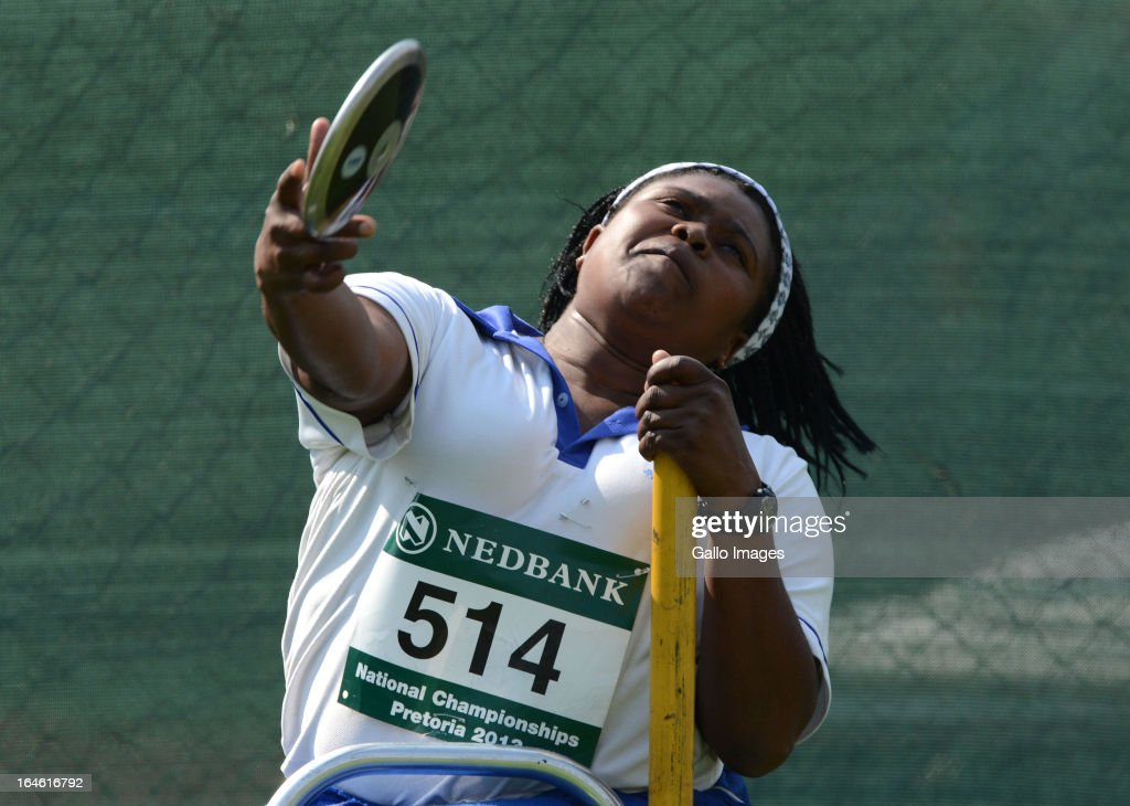 Zanele Situ of WP throws in the discus during day 3 of The Nedbank National Championships for the Physically Disabled at LC de Villiers Stadium on March 25, 2013 in Pretoria, South Africa.