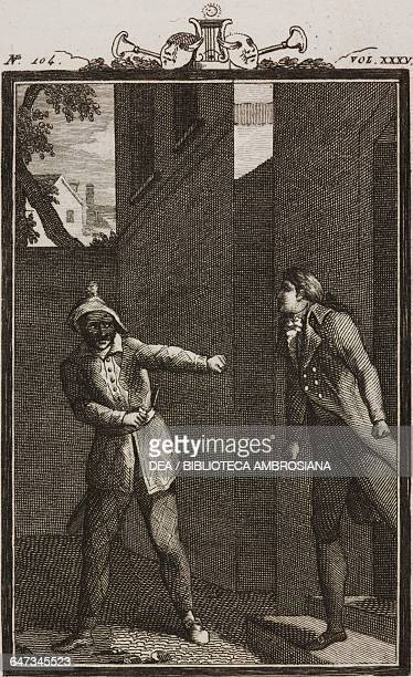 Zanetto arguing with Harlequin outside the inn engraving by Antonio Viviani from a drawing by G Steneri from The twins Act II Scene 13 Comedies...