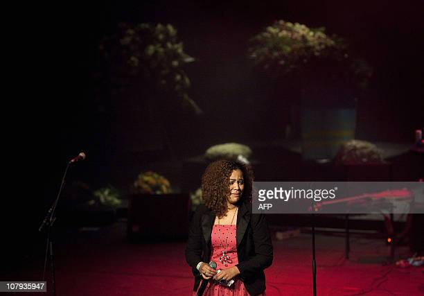 Zanillya Farrell the daughter of deceased singer Bobby Farrell attends the memorial service at the City Theatre in Amsterdam on January 8 2010 AFP...