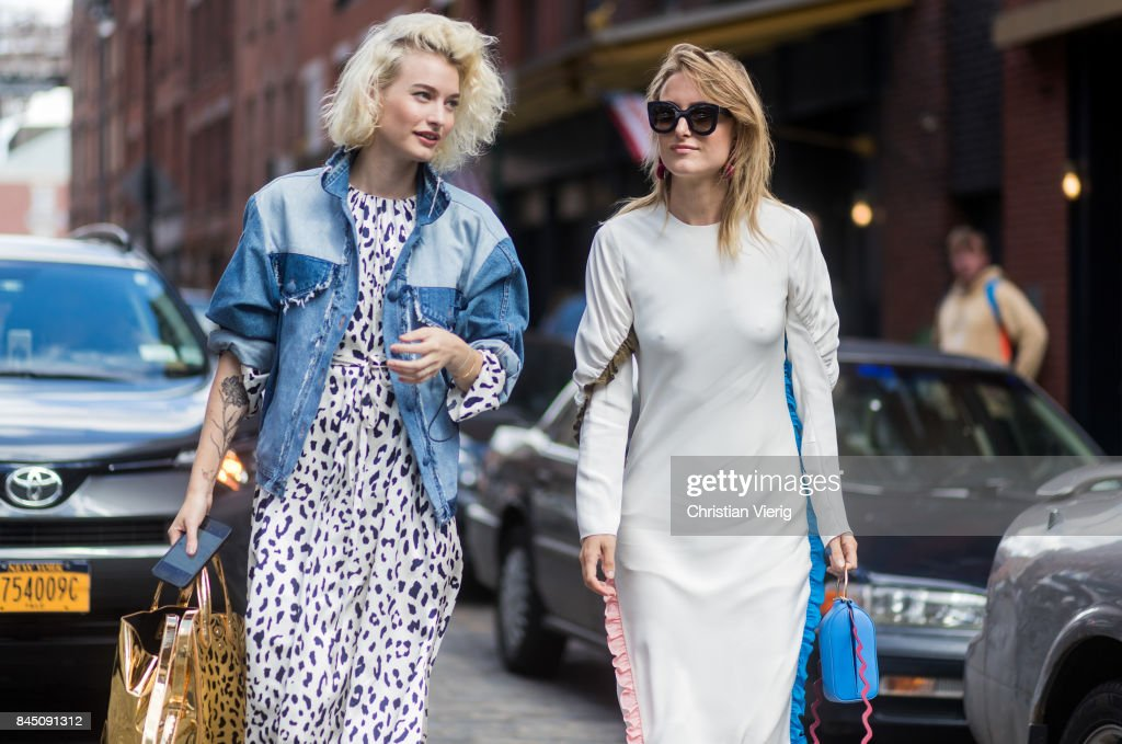 Zanita Whittington and Rebecca Laurey seen in the streets of Manhattan outside Tibi during New York Fashion Week on September 9, 2017 in New York City.