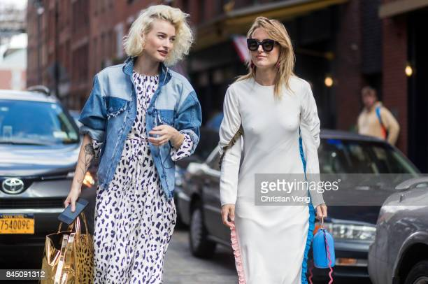 Zanita Whittington and Rebecca Laurey seen in the streets of Manhattan outside Tibi during New York Fashion Week on September 9 2017 in New York City