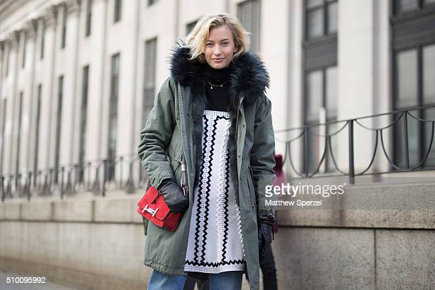 Zanita Whittington is seen at Herve Leger by Max Azria during New York Fashion Week Women's Fall/Winter 2016 on February 13 2016 in New York City