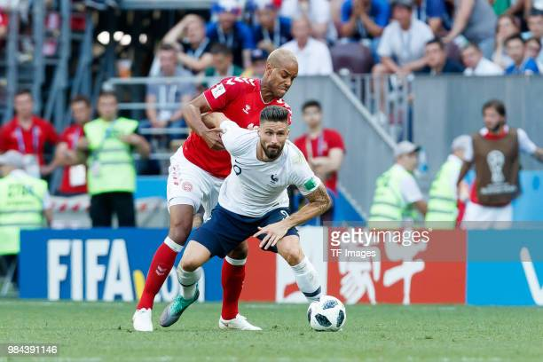 Zanka of Denmark and Olivier Giroud of France battle for the ball during the 2018 FIFA World Cup Russia group C match between Denmark and France at...