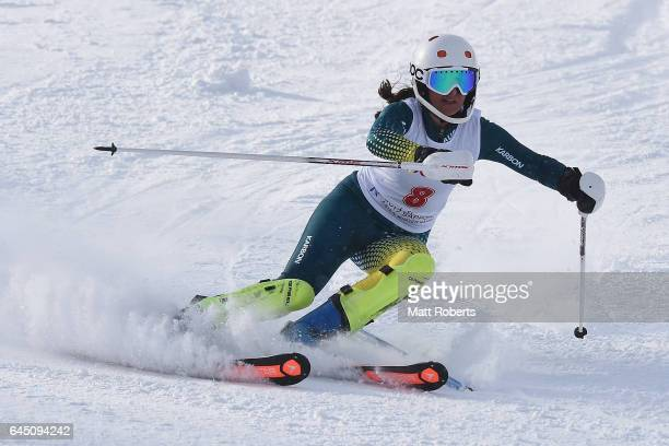 Zanna Farrell of Australia competes in women's slalom alpine skiing on the day eight of the 2017 Sapporo Asian Winter Games at Sapporo Teine on...