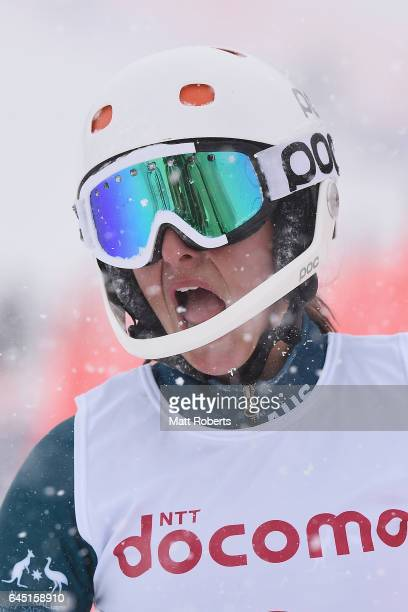 Zanna Farrell of Australia looks dejected in women's slalom alpine skiing on the day eight of the 2017 Sapporo Asian Winter Games at Sapporo Teine on...