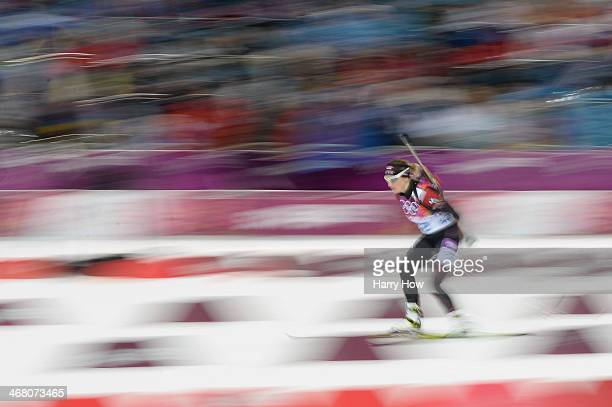 Zanna Juskane of Latvia competes in the Women's 7.5 km Sprint during day two of the Sochi 2014 Winter Olympics at Laura Cross-country Ski & Biathlon...