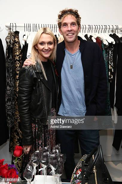 Zanna Roberts Rassi and Jesse Itzler attend as Sara Blakely and Alice Olivia celebrate the launch of 'The Belly Art Project' on October 10 2016 in...