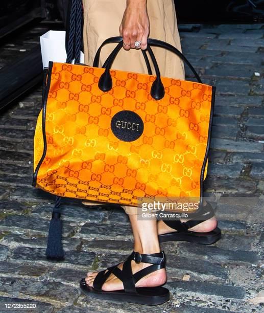 Zanna Roberts Rassi, handbag detail, is seen leaving Jason Wu - September 2020 during New York Fashion Week at Spring Studios on September 13, 2020...