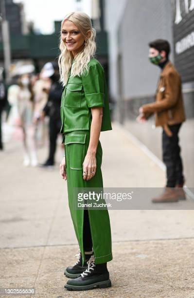 Zanna Roberts Rassi is seen wearing a green top and skirt outside the Rebecca Minkoff show during New York Fashion Week F/W21 at Spring Studios on...