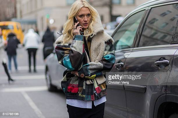 Zanna Roberts Rassi seen outside Tommy Hilfiger during New York Fashion Week Women's Fall/Winter 2016 on February 15 2016 in New York City