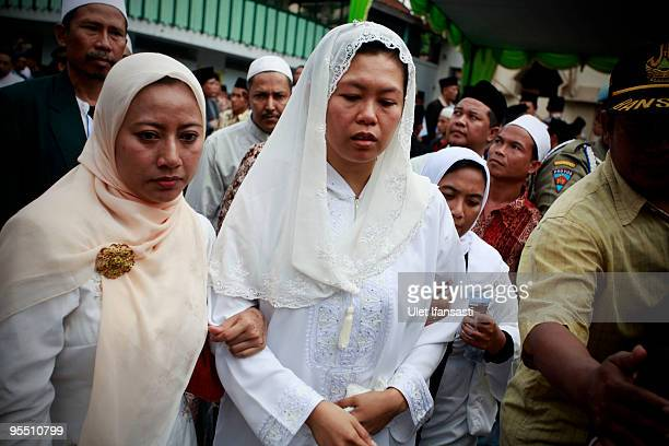 Zannuba Ariffah also known as Yenny Wahid daughter of former Indonesian President Abdurrahman Wahid attends his funeral in his East Java hometown on...