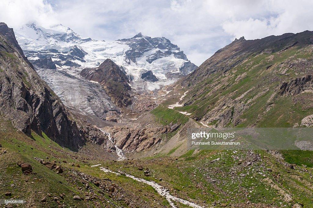 Zanskar mountain and glacier in summer, Jammu Kashmir : Stock Photo