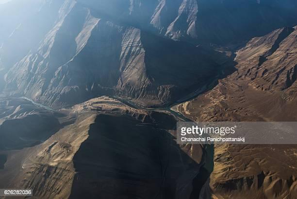 Zanskar river from above in Ladakh region, India
