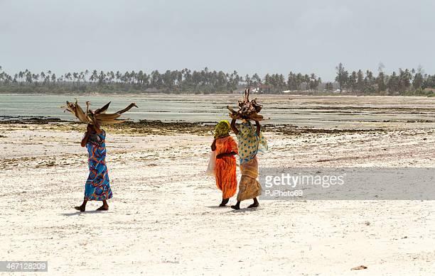 zanzibarian women walking on the beach - pjphoto69 個照片及圖片檔