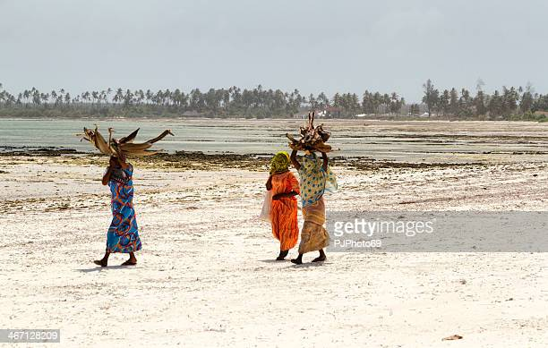 Zanzibarian Women walking on the beach