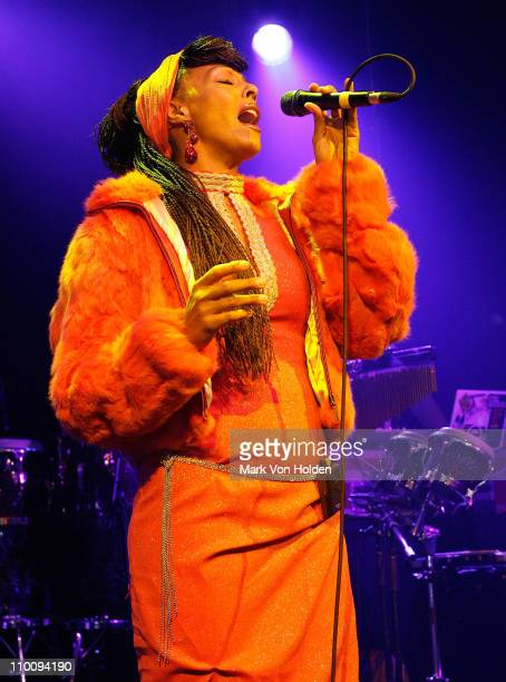 Zap Mama performs during the Conde Nast Traveler celebration of 20 Years of Truth in Travel at Cooper Hewitt National Design Museum on October 10,...