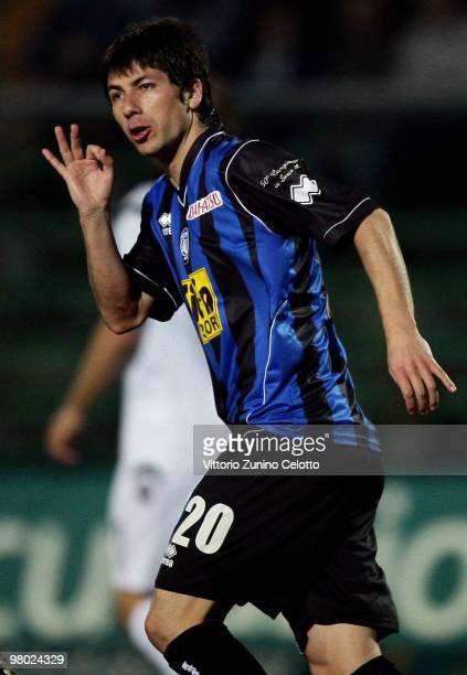 Zapata Jaime Valdes of Atalanta BC in action during the Serie A match between Atalanta BC and Cagliari Calcio at Stadio Atleti Azzurri d'Italia on...