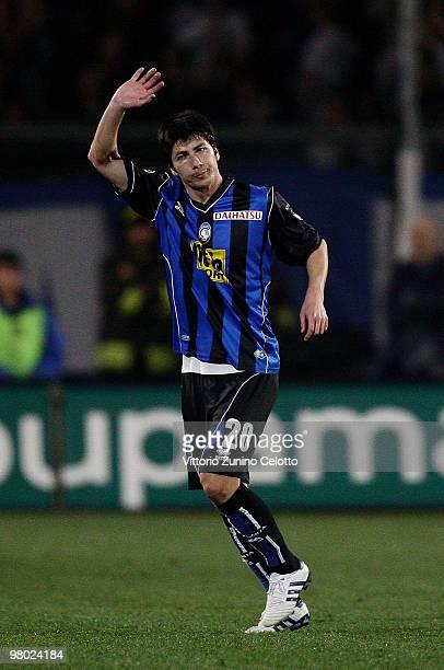 Zapata Jaime Valdes of Atalanta BC waves during the Serie A match between Atalanta BC and Cagliari Calcio at Stadio Atleti Azzurri d'Italia on March...
