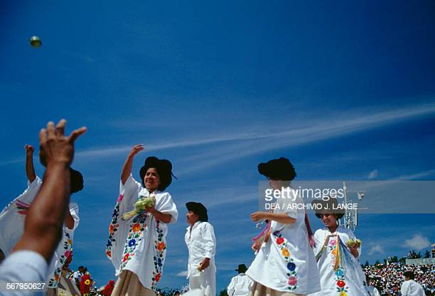 Zapotec dancers from Yalalag during the celebration at the Guelaguetza festival Oaxaca Mexico
