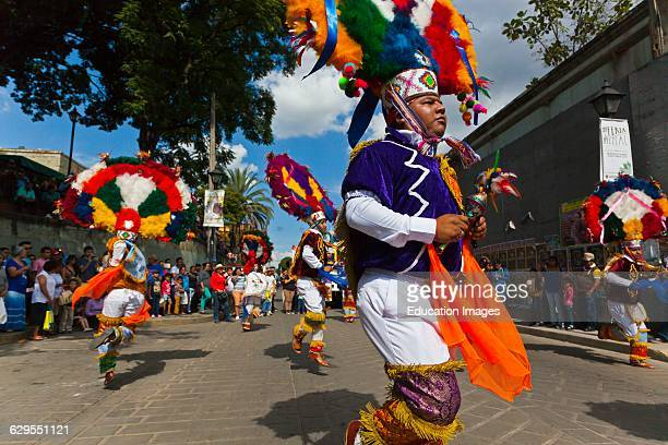 Zapotec Tribal Dancers In A Parade During The Guelaguetza Festival In July Oaxaca Mexico