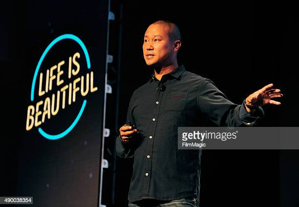 Zappos CEO Tony Hsieh speaks onstage during day 1 of the 2015 Life is Beautiful festival on September 25 2015 in Las Vegas Nevada