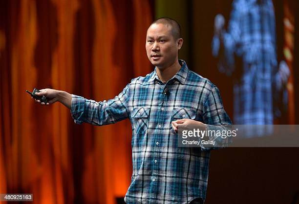 Zappos.com CEO Tony Hsieh speaks onstage at CinemaCon's final day luncheon and special presentation during CinemaCon, the official convention of the...
